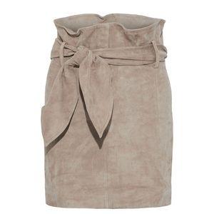 NWT IRO Brassi Belted suede mini skirt Clay Beige